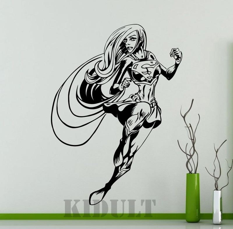 Supergirl Creative Wall Sticker DC Super Heroes Of Marvel Comics - Girl superhero wall decals