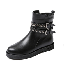 Rivet Belt Buckle Design Black Cowhide Martin Boots For Women Fashion Handsome All-match Booties Shoes Hot Sale Footwear