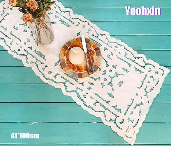 Home & Garden Modern White Cotton Embroidery Bed Table Runner Cloth Cover Dining Lace Tea Coffee Tablecloth Home Party Christmas Wedding Decor