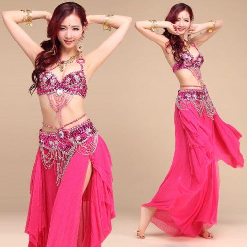 Beading Sequins Professional Belly Dancing Costumes 3PCS Bra+Belt+Skirt S M L