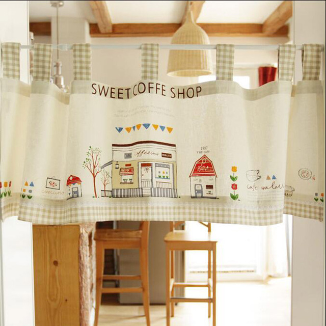 Korean Style Short Curtain Decorating Door Hangings Yarn Dyed Linen Curtain  For Cafe/kitchen/ Part 75