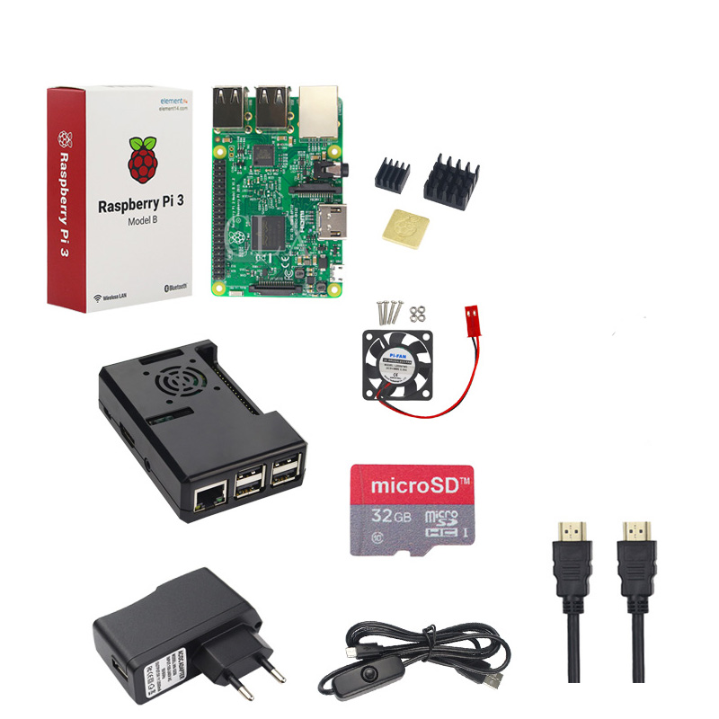 Raspberry Pi 3 Model B +32 GB SD Card + Case + Fan + 2.5A Power Adapter + HDMI Cable + Heat Sink for RPI 3 B free shipping free shipping emacro udqfrzh14cf0 300 0011 1302 300 0001 1302 dc 5v 0 30a 3 wire 3 pin connector 55mm heat sink fan