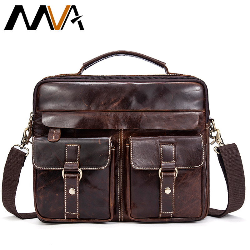 MVA Genuine Leather Men Bag Business Briefcase Messenger Handbags Men Crossbody Bags Men's Travel Laptop Bag Shoulder Tote Bags j m d genuine leather men bag travel bag male bolsos men s handbags business laptop shoulder bags briefcase messenger tote bag