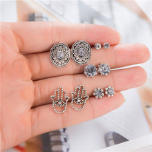 Vintage Tiny Hand Flower Carved Hollow Out Crystal Stud Earrings Women Antique Silver Earring Set oorbellen boucle doreille