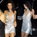 Kylie jenner 2016 v profundo lentejuelas mini dress backless sexy partido halter dress señora sexy club de vestidos de baile de lentejuelas de oro ropa