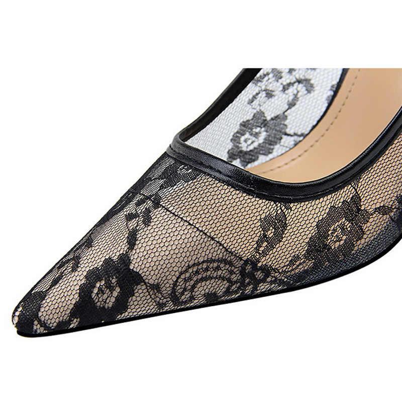 Bigtree ayakkabı kadın pompaları moda düğün ayakkabı kadınlar yüksek topuklu dantel seksi parti ayakkabıları sivri burun kadın ayakkabı kadın Stiletto