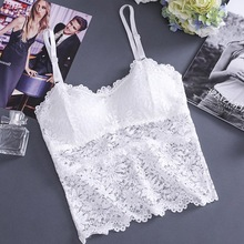 2019 Sexy Crop Top Women Hollow Out Lace Cami Lace Tube Top Flower Camisoles plaid shirred crop cami top