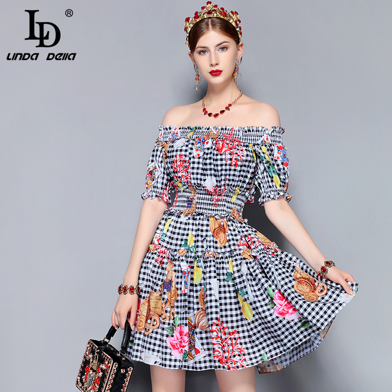 045e1c46822b LD LINDA DELLA New Fashion Runway Summer Dress Women s Off the Shoulder  Slash neck elastic Waist