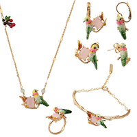 Les Nereides צרפת זיגוג אמייל אופנה צבעונית Hummingbird סטי תכשיטי נשים טבעת עגילי צמיד שרשרת פנינת סעיף