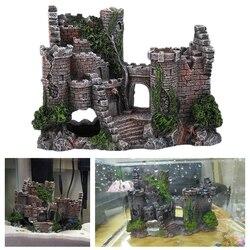 Żywica rzemiosło starożytny zamek akwarium dekoracje w stylu europejskim zamek dekoracyjne akwarium krajobrazu Rock ozdoby w Dekoracje od Dom i ogród na