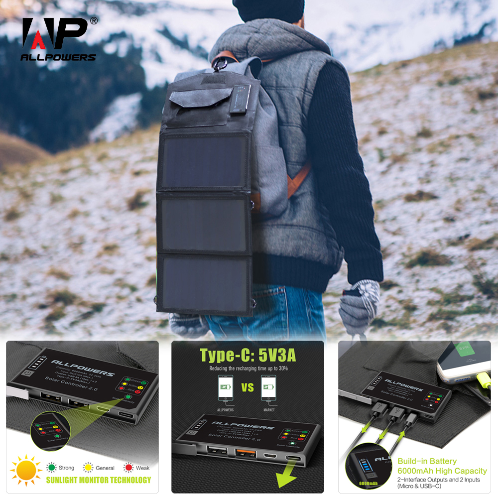 ALLPOWERS Phone Charger 5V 15W Solar Battery Charger Dual USB and Type-C 5V 3A(Max.) Outdoors Solar Powered Charger.ALLPOWERS Phone Charger 5V 15W Solar Battery Charger Dual USB and Type-C 5V 3A(Max.) Outdoors Solar Powered Charger.