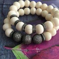 Gunblack CZ Pave Ball Bracelet Beige Riverstone Beads Stretch Strand Stacking Bracelet B15120909