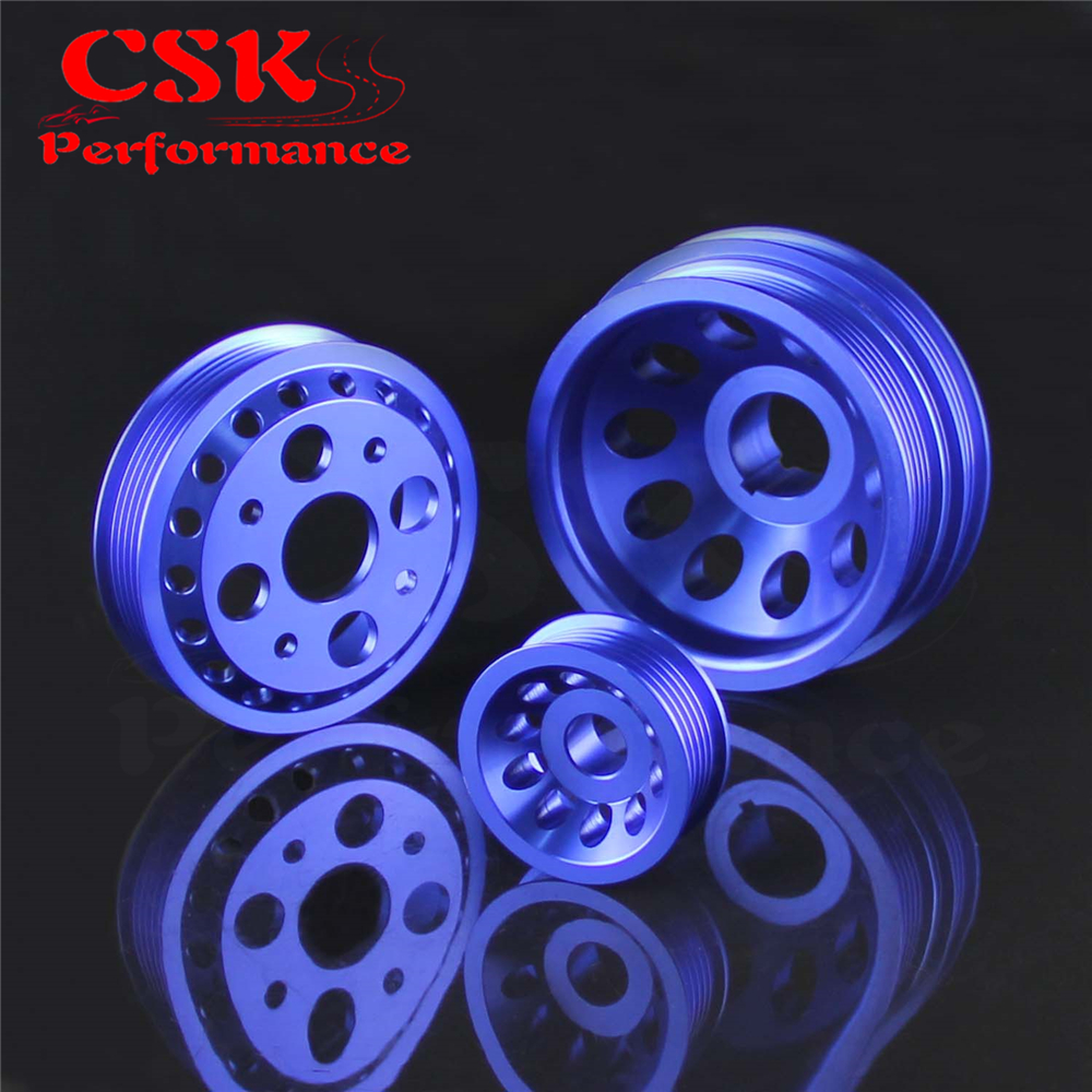 For 350Z Z33 G35 Skyline Vq35De Jdm Motor Cnc Light Weight Pulley Wheel Kit Blue