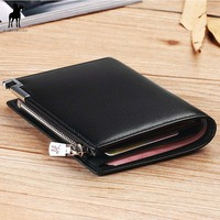 Men Wallets Male Purse Genuine Leather Wallet with Coin Pocket Zipper Short Credit Card Holder Wallets Men Leather Wallet