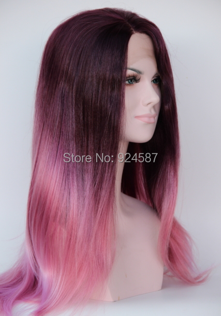Ombre Purple To Light Pink Gradient Color Heat Resistant Kanekalon Hair Natural Long Straight Synthetic Lace Front Women Wigs k19 16inch wavy purple gradient light