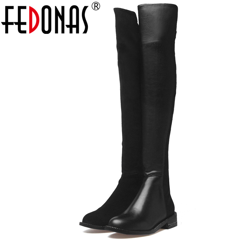 FEDONAS Fashion Women Over The Knee Boots Autumn Winter Warm Genuine Leather Square Heels Shoes Woman Night Club Sexy High Boots цены онлайн