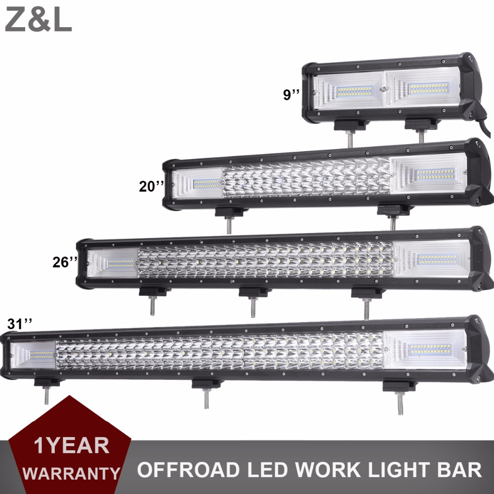 цена на 9 20 26 31 Inch LED Light Bar Offroad Car SUV 4X4 4WD Work Lamp Bar Truck Wagon Pickup Camper Trailer 12V 24V Combo Driving Lamp