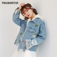 Ladies Spring Autumn New Turn Down Collar Denim Jacket Female Fashion Flowers Embroidery Outwear Women Casual