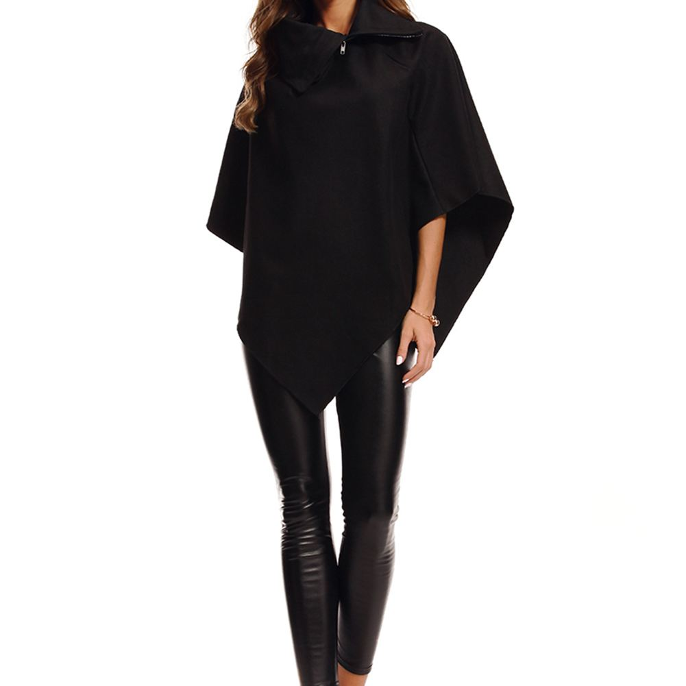 Autumn Winter Solid New Women Loose Batwing Sleeve Long Poncho Cape Irregular Hem Solid Woolen Plus Size Coat Shawl