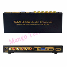 2016 Audio Decoder HDMI Digital Audio Decoder HDMI to HDMI+VGA+SPDIF+5.1CH+for HP Converter Up to 1080P D5260A
