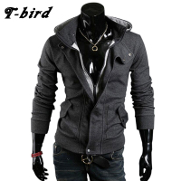 T Bird 2107 Cardigan Men Hoodie Cotton Autumn Winter Hoodies Male Sweatshirts Hip Hop Button Brand