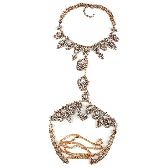 Hot Long Body Necklace Chain Necklace Luxury Flower Women Maxi Rhinestone Bijoux Statement Collar Necklace2886