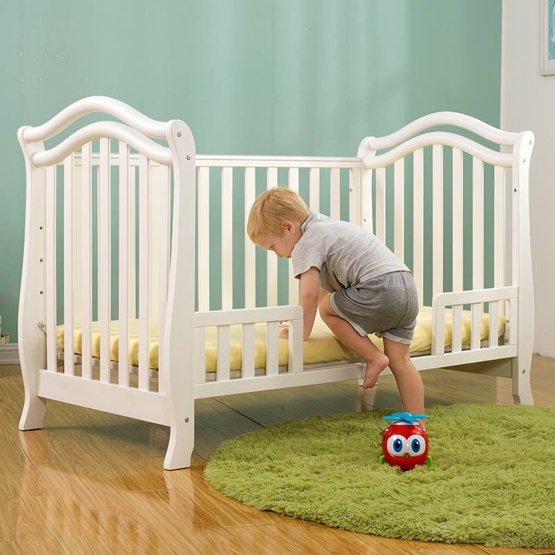 Solid wood crib single children bed with a fence white pink princess ...