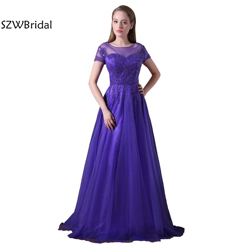 New Arrival Chiffon Purple Plus Size Evening Dress Long 2018 Cap