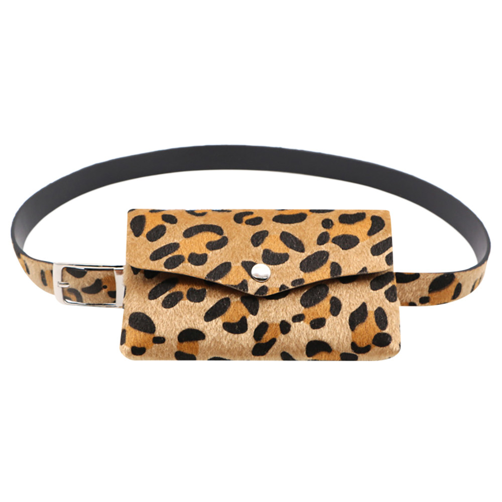 Women Waist Bag Fashion Leopard Print Hair Decorative Pockets Dual-use Mobile Phone Holder Bag Fanny Pack Belt Bags