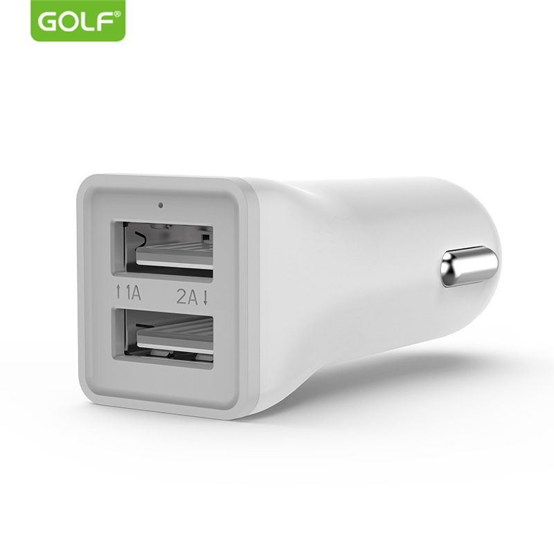 GOLF Dual USB Car Charger for iPhone Samsung Redmi Oneplus Fast Charging Android Mobile Phone Tablet Universal Car USB Charger