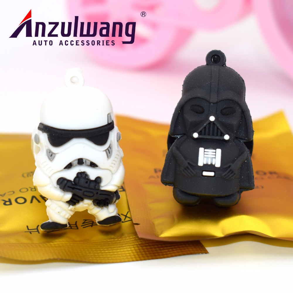 ANZULWANG Car Styling Air Freshener Car Air Condition Vents Decorative Cartoon Black And White Star War