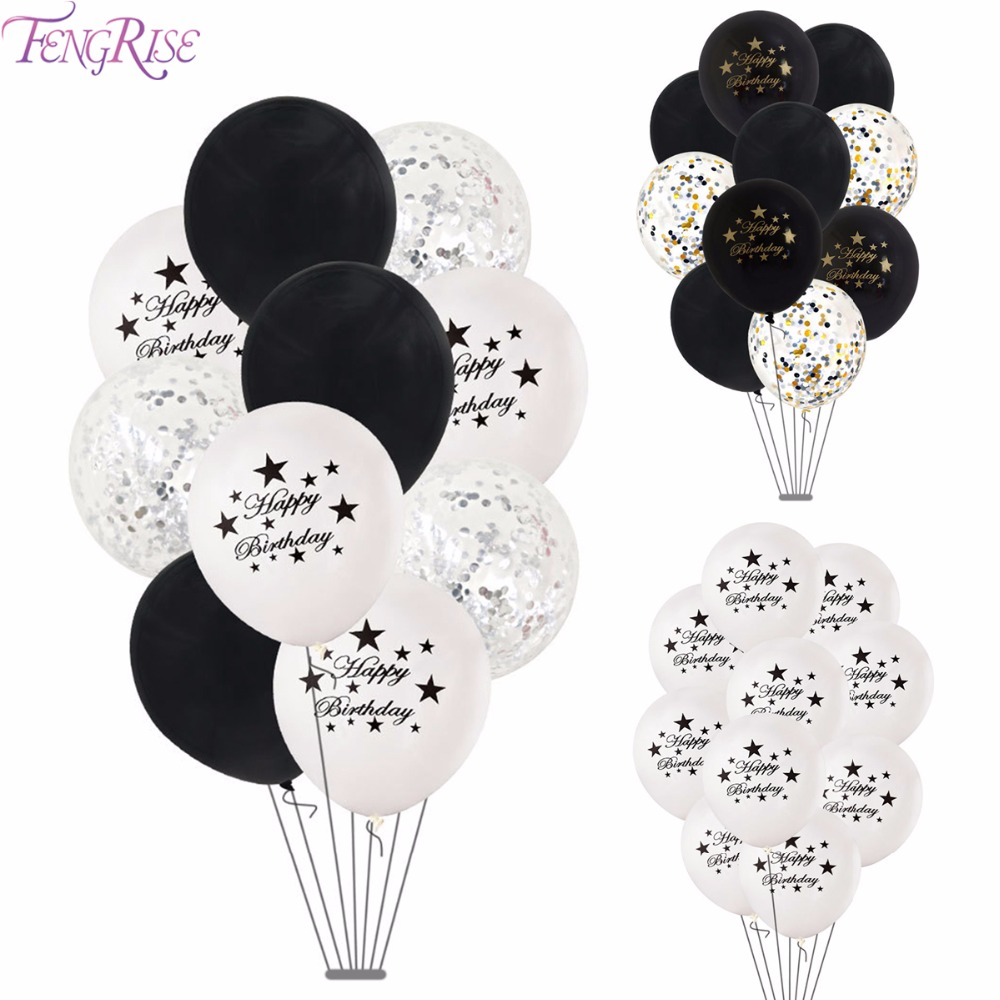 Detail Feedback Questions About FengRise White Black Happy Birthday Balloon Star Heart Balloons Party Decorations Adult Air