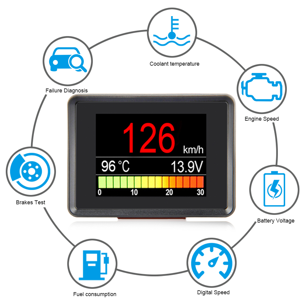 A203 OBD Speedometer Fuel Computer Display Consumption Meter Temperature Gauge Automobile On-board Computer  Car Digital OBD2
