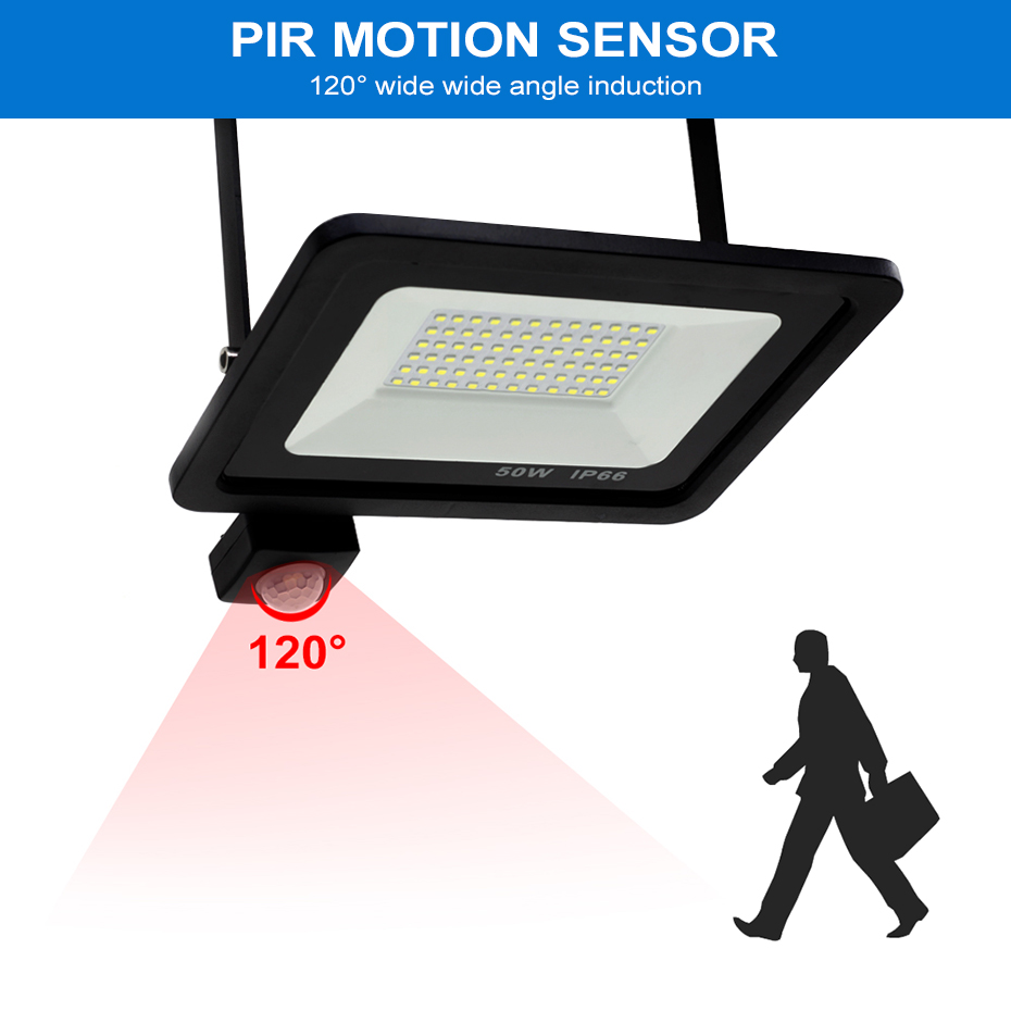 Image 2 - Led 10W 20W 30W 50W Flood Light Outdoor PIR Motion Sensor 220V IP66 Outdoor Spotlight Led Projector Light Reflector With Sensor-in Floodlights from Lights & Lighting