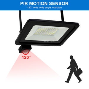 Image 2 - Led 10W 20W 30W 50W Flood Light Outdoor PIR Motion Sensor 220V IP66 Outdoor Spotlight Led Projector Light Reflector With Sensor