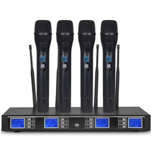 Professional UHF Wireless Microphone Four Handheld Microphones Family KTV/Conference Room/Outdoor Performance high end uhf 8x50 channel goose neck desk wireless conference microphones system for meeting room