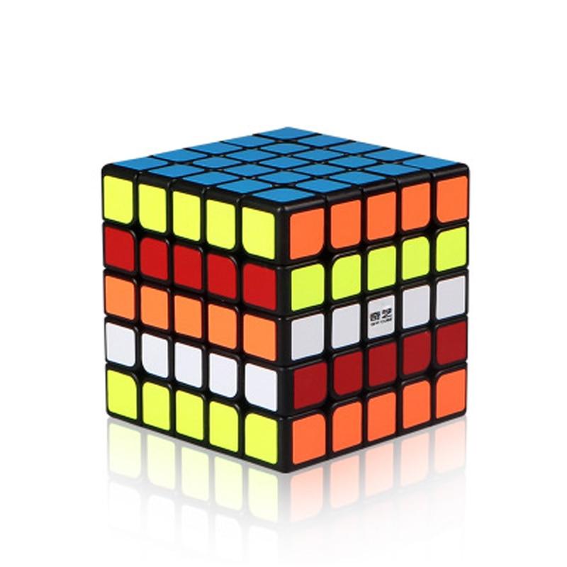 QiYi QiZheng 5x Stickess 5x5 Cubo Mágico Preto Profissional Velocidade Cubos das Crianças Enigma Brinquedos Educativos Cubo dom Brinquedos Magico