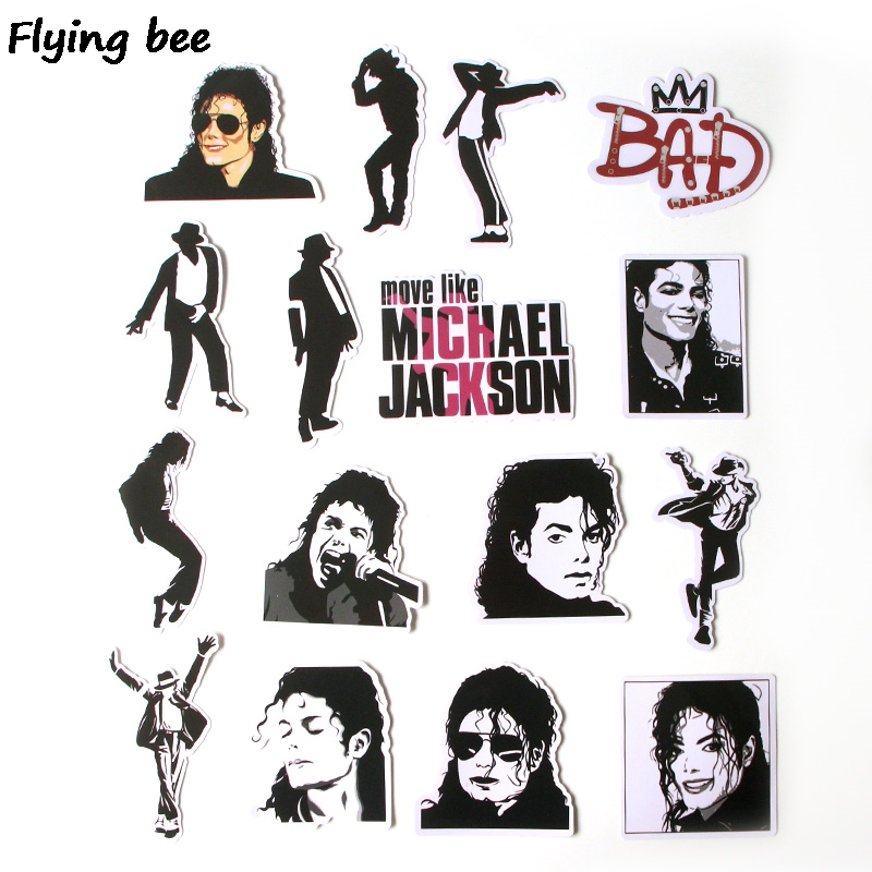 Image 2 - Flyingbee 16 Pcs Rock King Punky Stickers Graffiti waterproof skateboard suitcase laptop sticker Decals X0279-in Stickers from Consumer Electronics