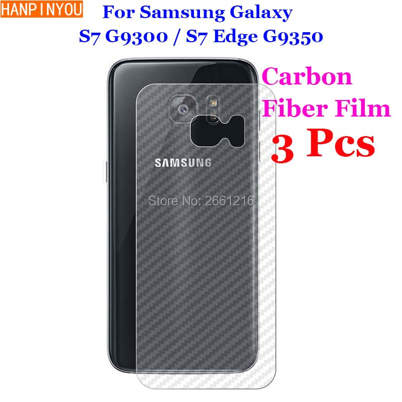 3 Pcs/Lot For Samsung Galaxy S7 G9300 / S7 Edge New 3D Non-slip Clear Carbon Fiber Back Film Screen Protector Protective Sticker