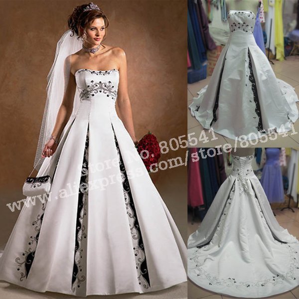 Classic Ivory Wedding Dresses: 100% Real Photo Classic Ball Gown Strapless Vintage