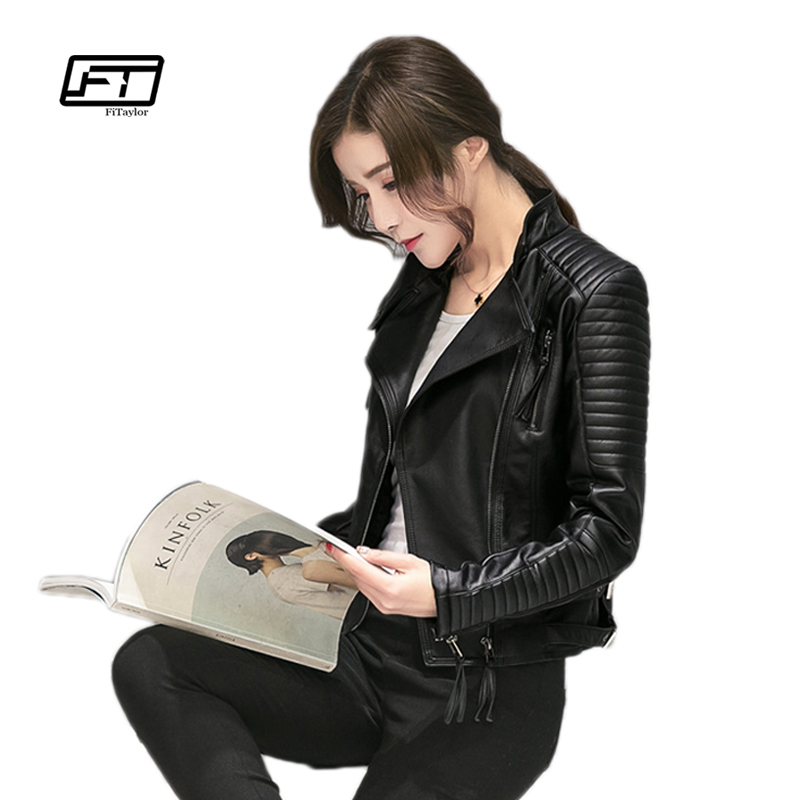 Fitaylor Women Spring Autumn PU Leather Jacket Casual Slim Soft Moto Jacket Biker Faux Leather Jacket Women leather jacket
