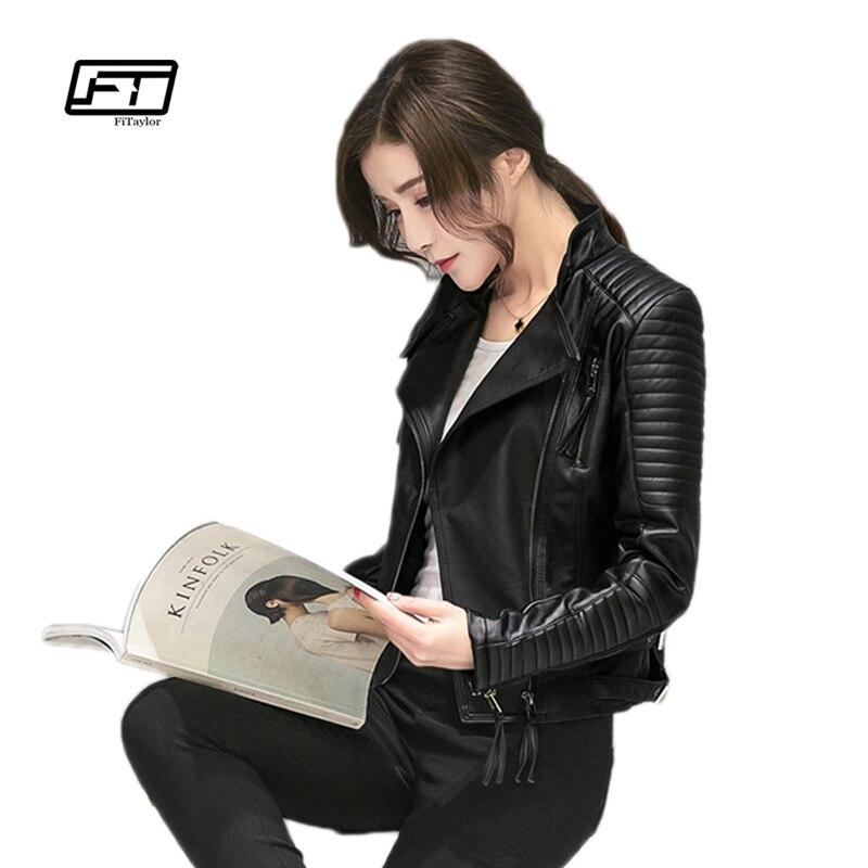 Fitaylor Femmes Printemps Automne PU Veste En Cuir Casual Slim Souple Moto Veste Biker Faux Veste En Cuir Femmes