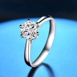 Czysty pierścionek z białego złota 18K 1ct 2ct 3ct VVS1 okrągły krój klasyczny pierścionek z brylantem Moissanite Wedding Party pierścionek jubileuszowy
