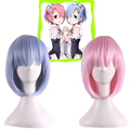 re zero rem wig cosplay anime wigs short Life in a different world from zero ram rem wig synthetic hair heat resistant wigs pink