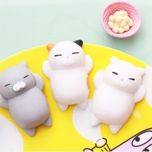 1PCS Original Adorable Japan Lazy Cat Mochi dumpling Squeeze Stretchy Kawaii Decompress Squishy Anti Stress Fidget Toys