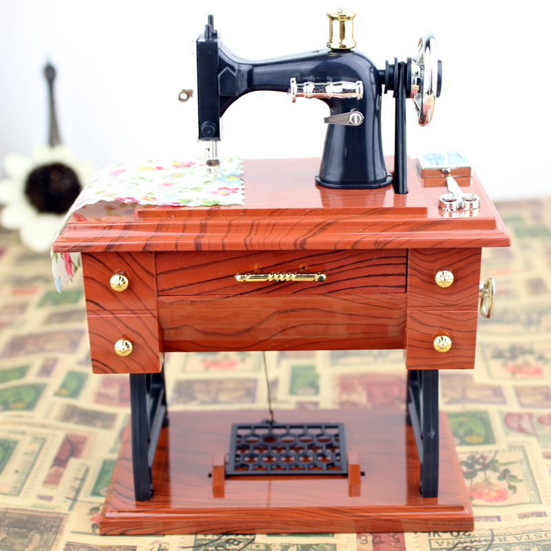 Retro Nostalgia Imitation Wood Sewing Machine Model Building Kits Music Box Music Box Creative Diy Girl Gift Toys For Children A Wide Selection Of Colours And Designs Toys & Hobbies
