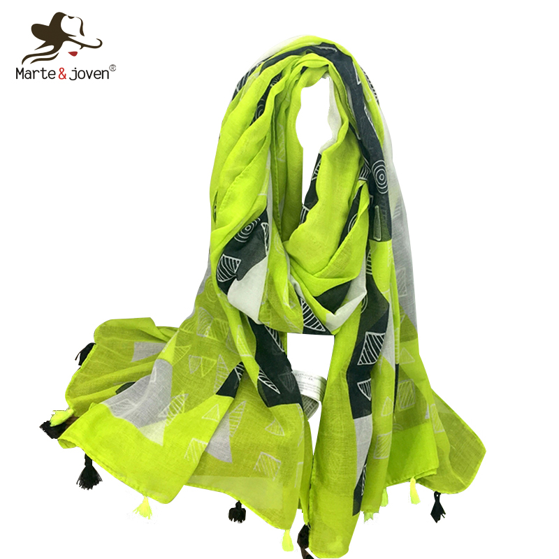 Marte&Joven Women Fashion Geometric Printing Oversized Bright Green Polyester Shawl Sacrves Ladies Thin Soft Spring   Scarf     Wraps