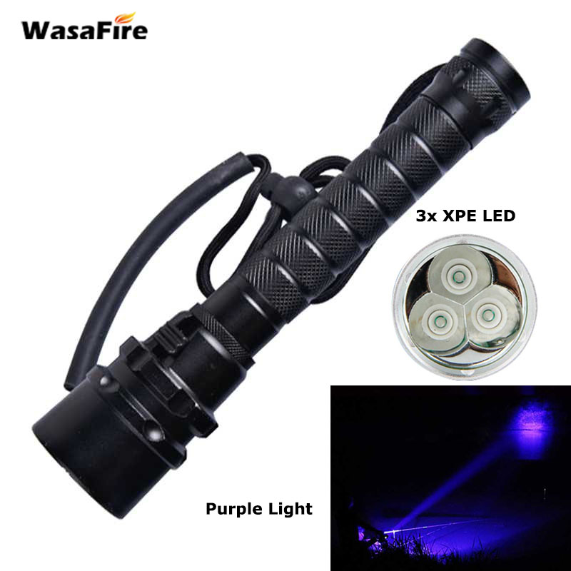 UV Led Diving Flashlight Waterproof Dive Torch Light 100m Underwater Flashlight Purple Light 3x XPE LED Ultraviolet Lamp LanternUV Led Diving Flashlight Waterproof Dive Torch Light 100m Underwater Flashlight Purple Light 3x XPE LED Ultraviolet Lamp Lantern