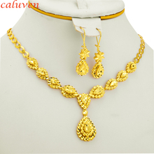 Ethiopian Jewelry Gold Color sets for Bride  Arab Africa Gifts for Women Wedding Necklace/Earrings