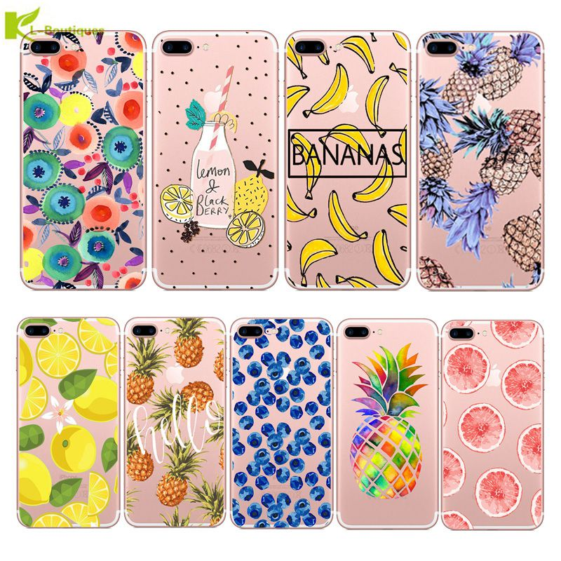 Galleria fotografica Soft Silicon Phone Case For iPhone 5S 5 7 6S 6 8 Plus X XR XS Max Capa Fruit Lemon Banana Pineapple Blueberry Clear Slim Cover